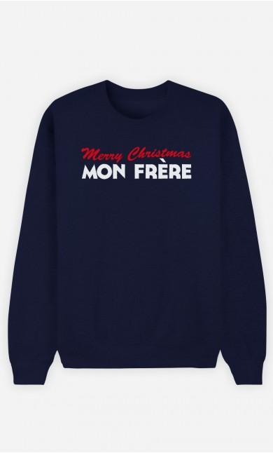 Sweat Bleu Merry Christmas mon Frère
