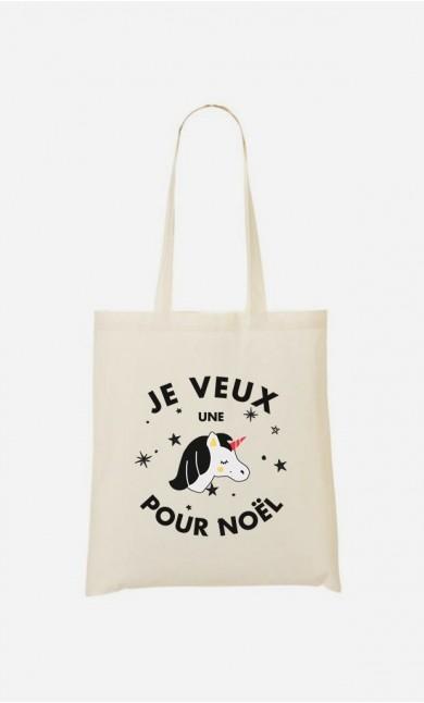 Tote Bag Je Veux une Licorne pour Noël