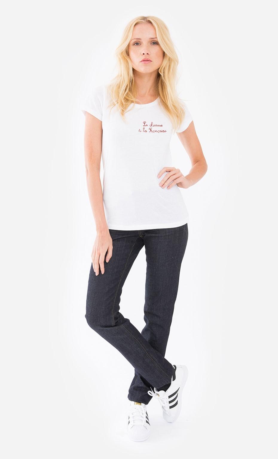1cf25d6b15c T-Shirt Femme Le Charme A La Française - Brodé original et tendance ...