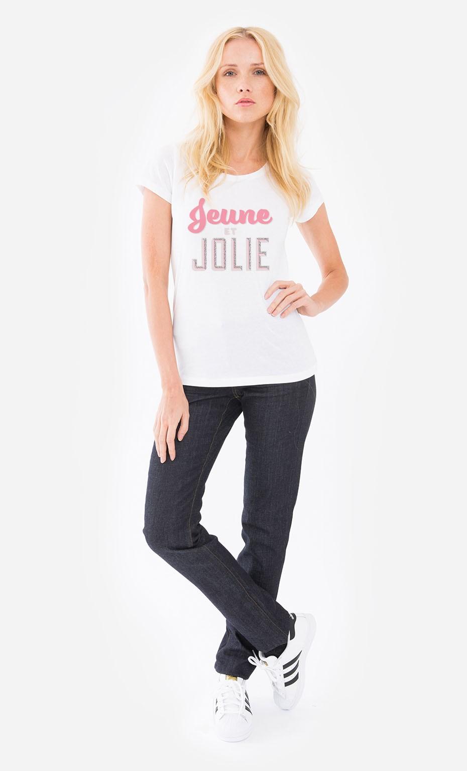 5d9d7c090 T-Shirt Femme Jeune et Jolie original et tendance - Wooop