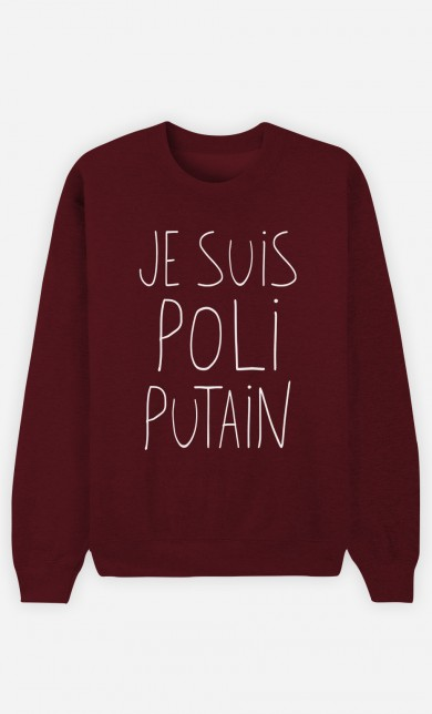 Burgundy Sweater Je Suis Poli Putain