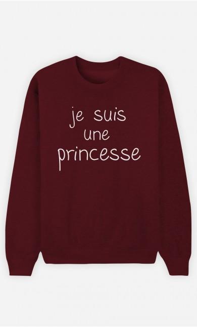 Sweat Bordeaux Je Suis Une Princesse