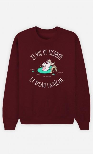 Sweat Bordeaux Je Vis de licorne et d'eau fraiche
