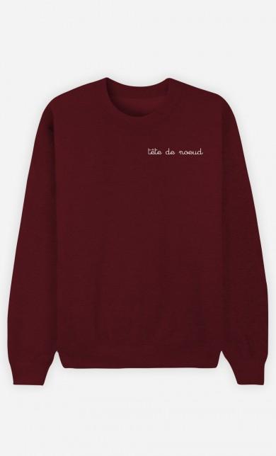 Burgundy Sweater Tête de Nœud - Brodé