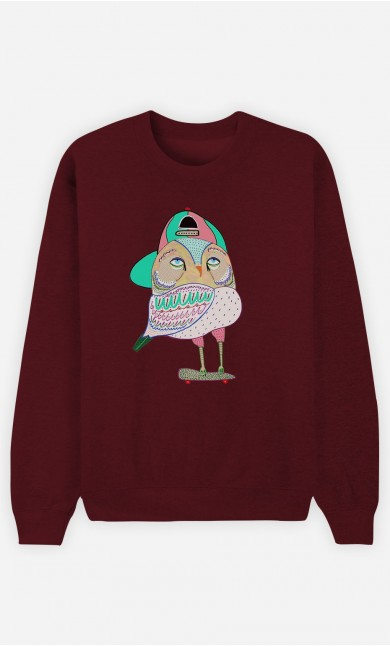 Sweat Bordeaux Awesome Owl