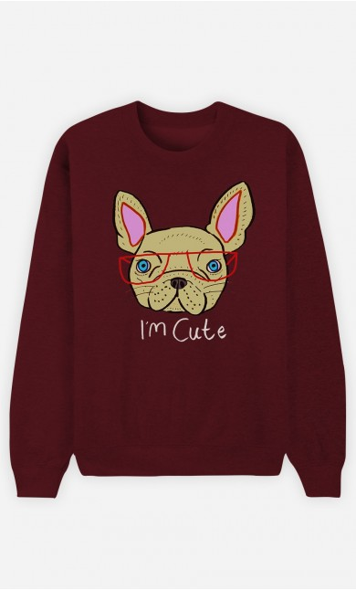 Sweat Bordeaux I Am Cute