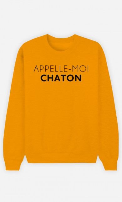 Sweat Moutarde Appelle-Moi Chaton