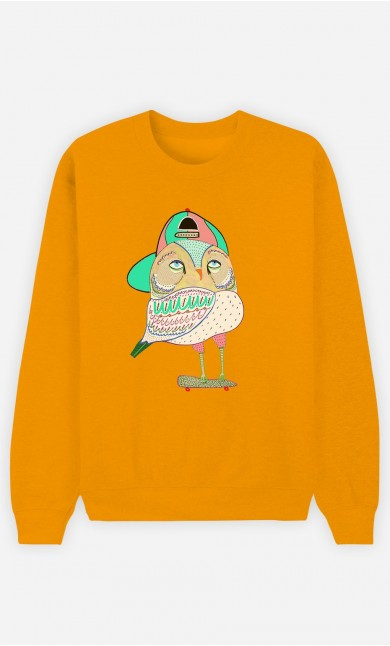Sweat Moutarde Awesome Owl