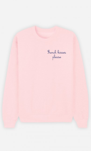 Pink Sweater French Kisses Please - Brodé
