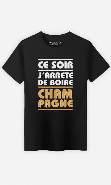T-Shirt Homme J'arrête de Boire Champagne