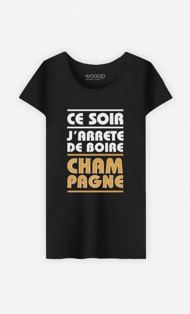 T-Shirt Noir J'arrête de Boire Champagne