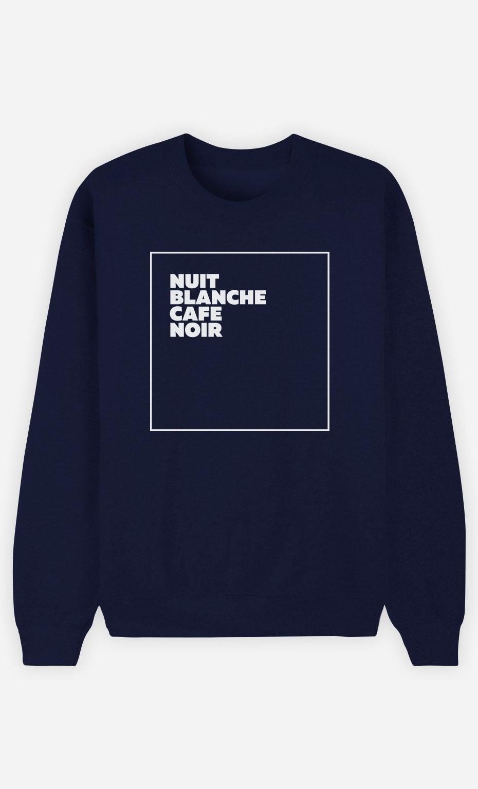 Sweat Bleu Nuit Blanche Café Noir