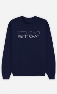 Sweat Bleu Appelle-Moi Petit Chat