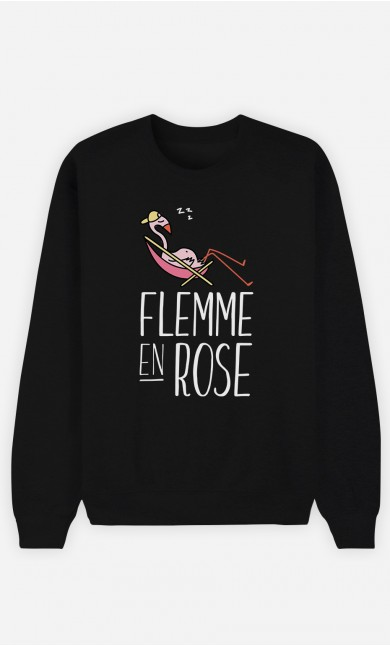 Sweat Noir Flemme en Rose