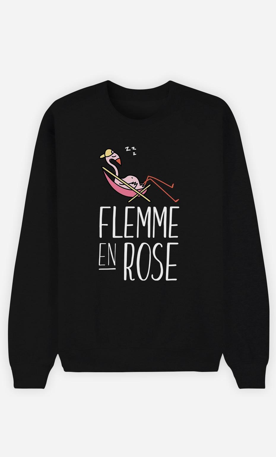 Sweat Noir Flemme en Rose