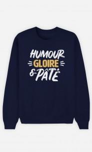 Sweat Bleu Humour Gloire et Pâté