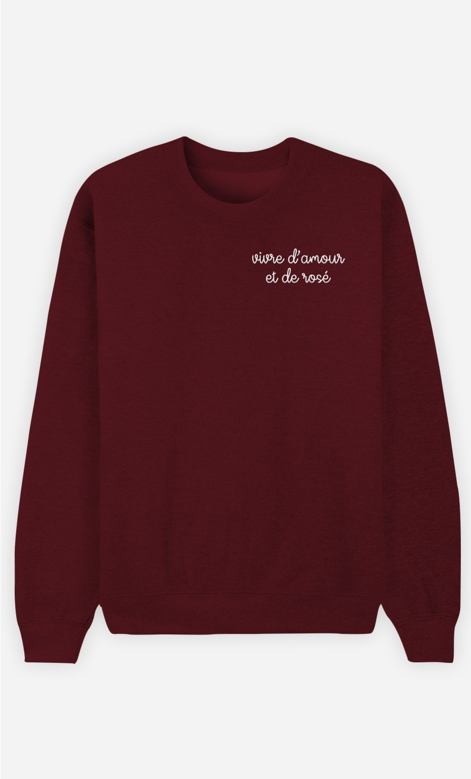 Sweat Bordeaux Vivre d'Amour - brodé et de rosé