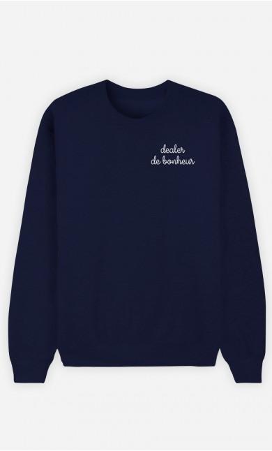 Sweat Bleu Dealer de bonheur - brodé