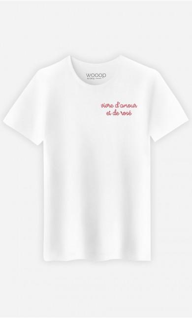 T-shirt Vivre d'Amour - brodé et de rosé