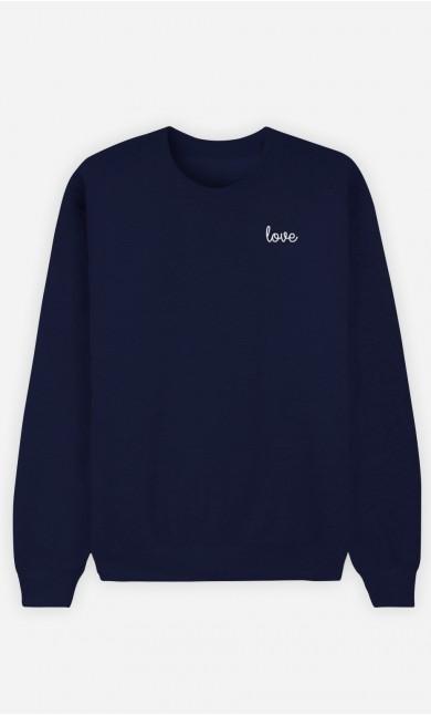 Sweat Bleu Love - brodé