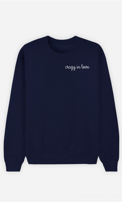 Sweat Bleu Crazy in love - brodé