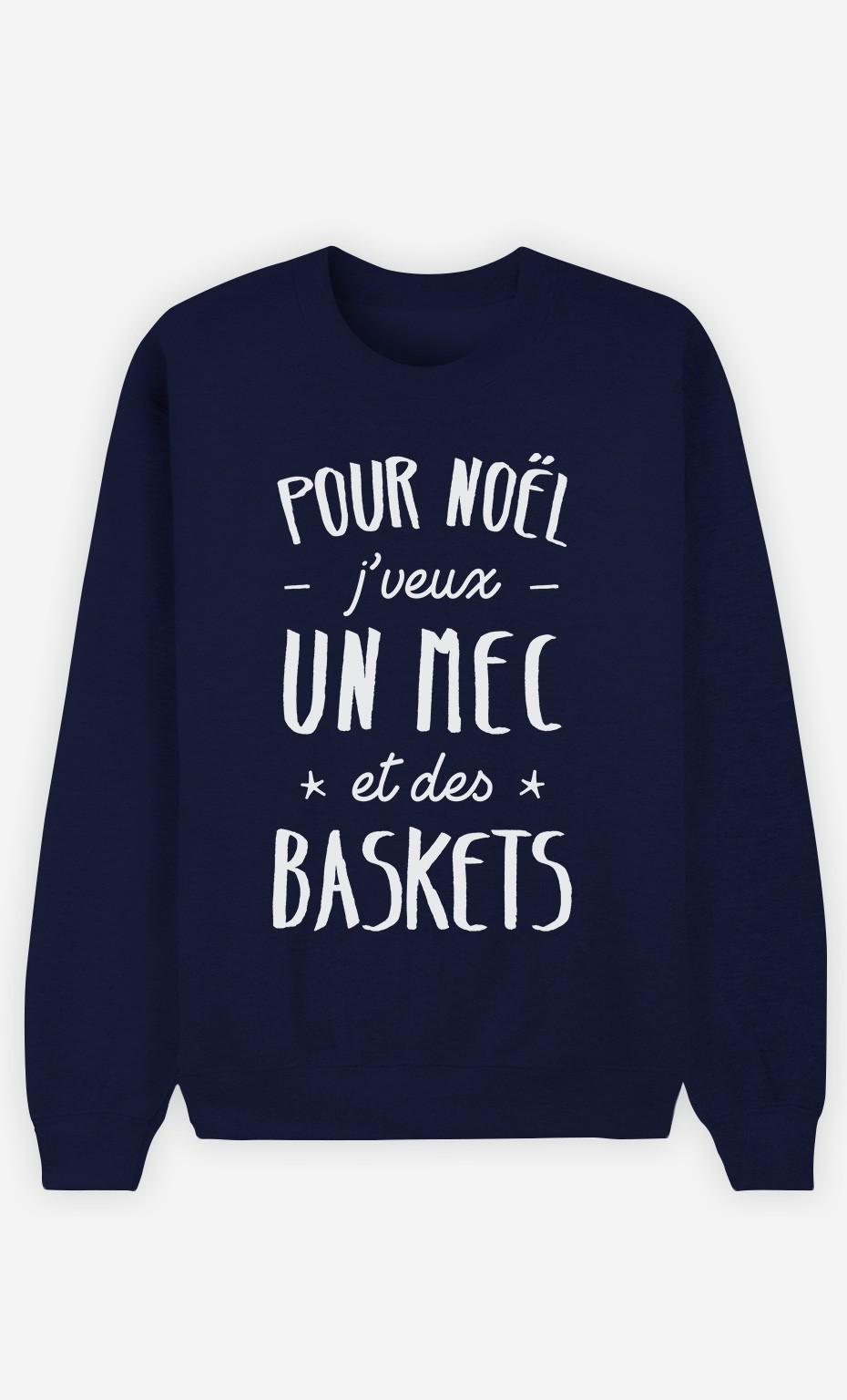 Sweat Bleu J'veux Un Mec Et Des Baskets
