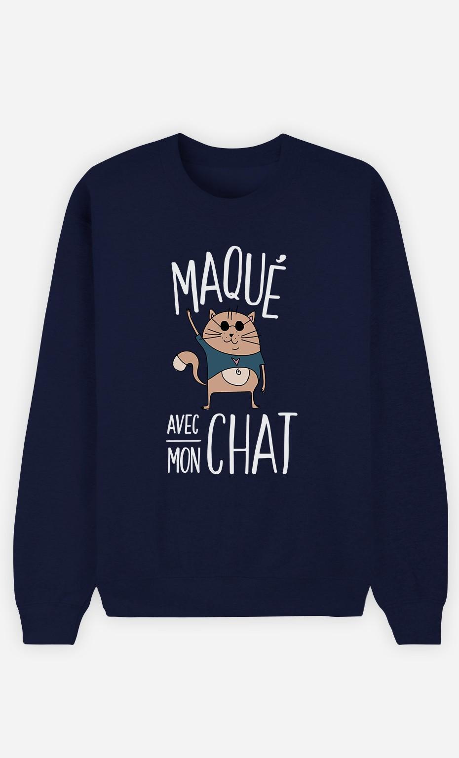 Sweat Bleu Maqué avec mon chat