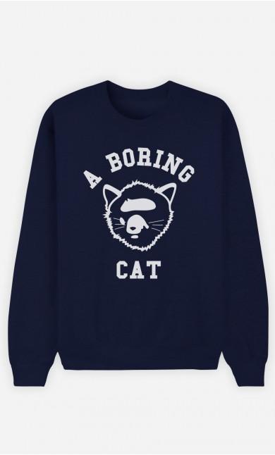 Sweat Bleu A Boring Cat