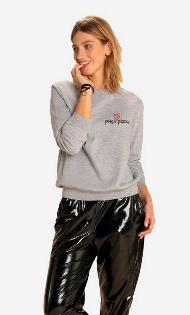 Sweatshirt Posh Pizza - Brodé