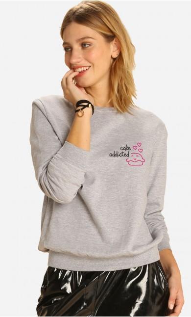 Sweatshirt Cake Addicted - Brodé