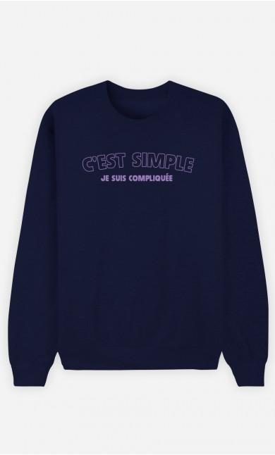 Sweat Bleu C'est Simple Je Suis Compliquée