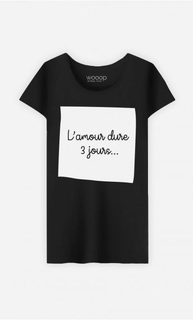 T-Shirt Noir L'Amour Dure 3 Jours