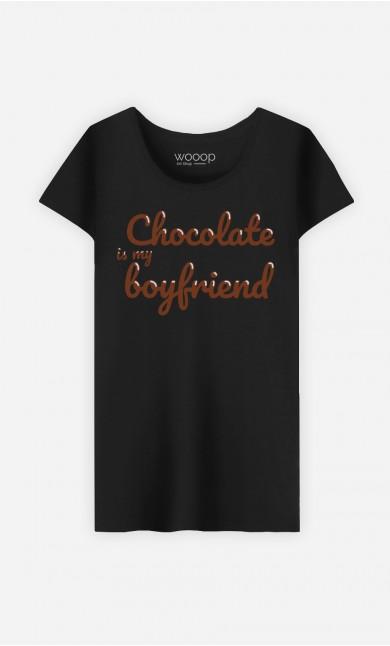 T-Shirt Noir Chocolate Is My Boyfriend