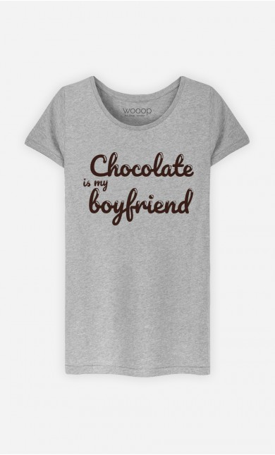 T-Shirt Gris Chocolate Is My Boyfriend