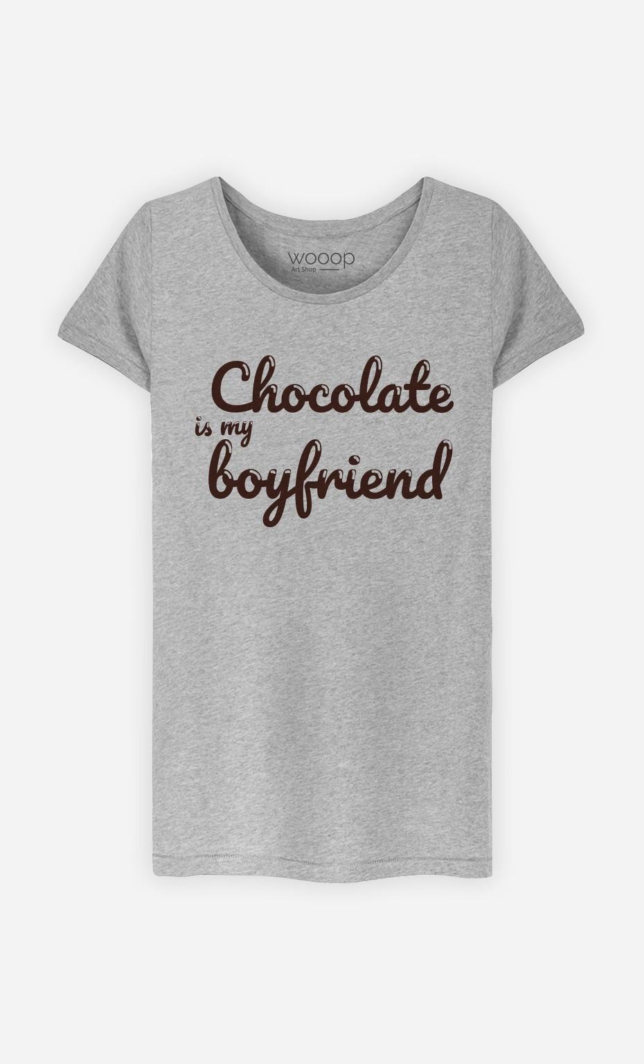 T-Shirt Gris Chocolate Is My Boyfriend