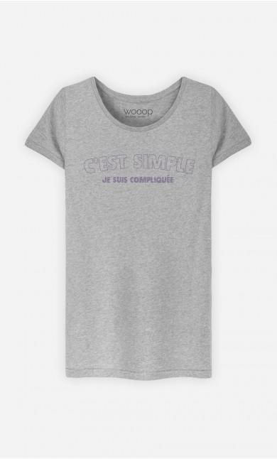 T-Shirt Gris C'est Simple Je Suis Compliquée