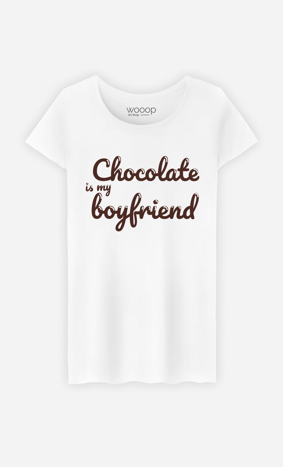 T-Shirt Blanc Chocolate Is My Boyfriend