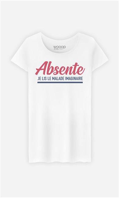 T-Shirt Femme Absente : Je Lis Le Malade Imaginaire
