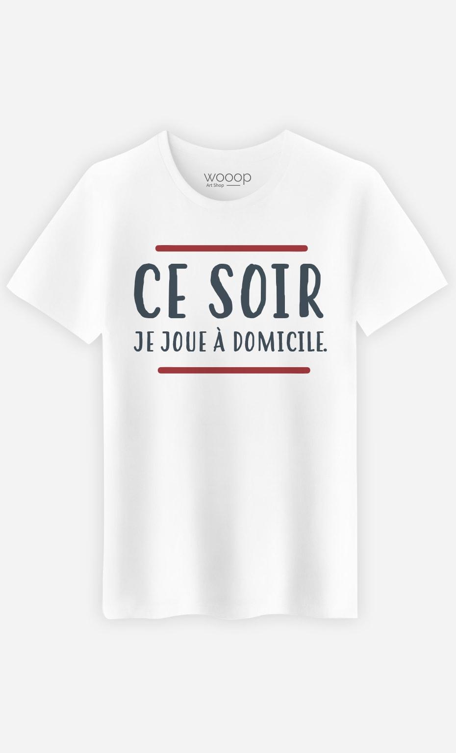 T-Shirt Blanc Homme Ce soir je joue à domicile