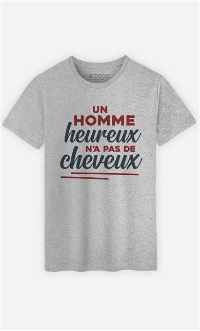 T-Shirt Gris Homme Un homme heureux