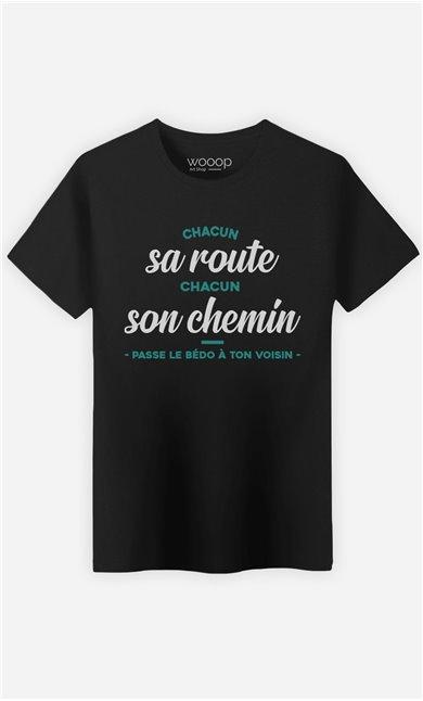 T-Shirt Noir Homme Passe le bédo à ton voisin