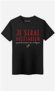 T-Shirt Noir Homme Quand le saucisson sera un légume