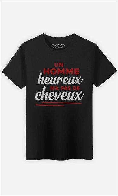 T-Shirt Noir Homme Un homme heureux