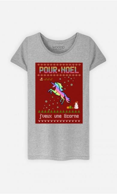 T-Shirt Femme Pour Noël, j'veux une licorne
