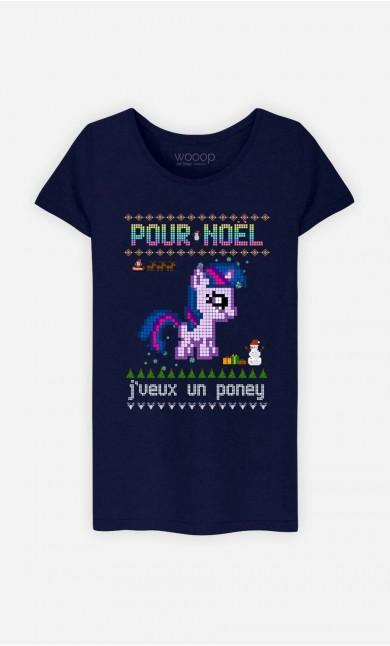 T-Shirt Femme Pour Noël, j'veux un poney