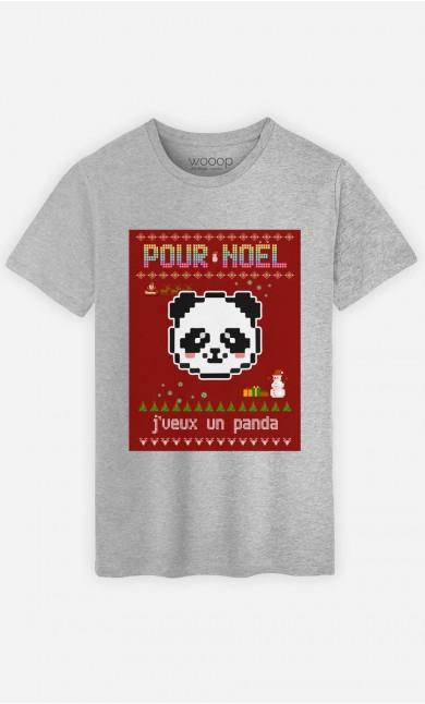 T-Shirt Homme Pour Noël, j'veux un panda