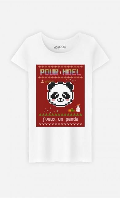 T-Shirt Femme Pour Noël, j'veux un panda