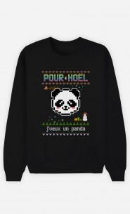 Sweat Homme Pour Noël, j'veux un panda