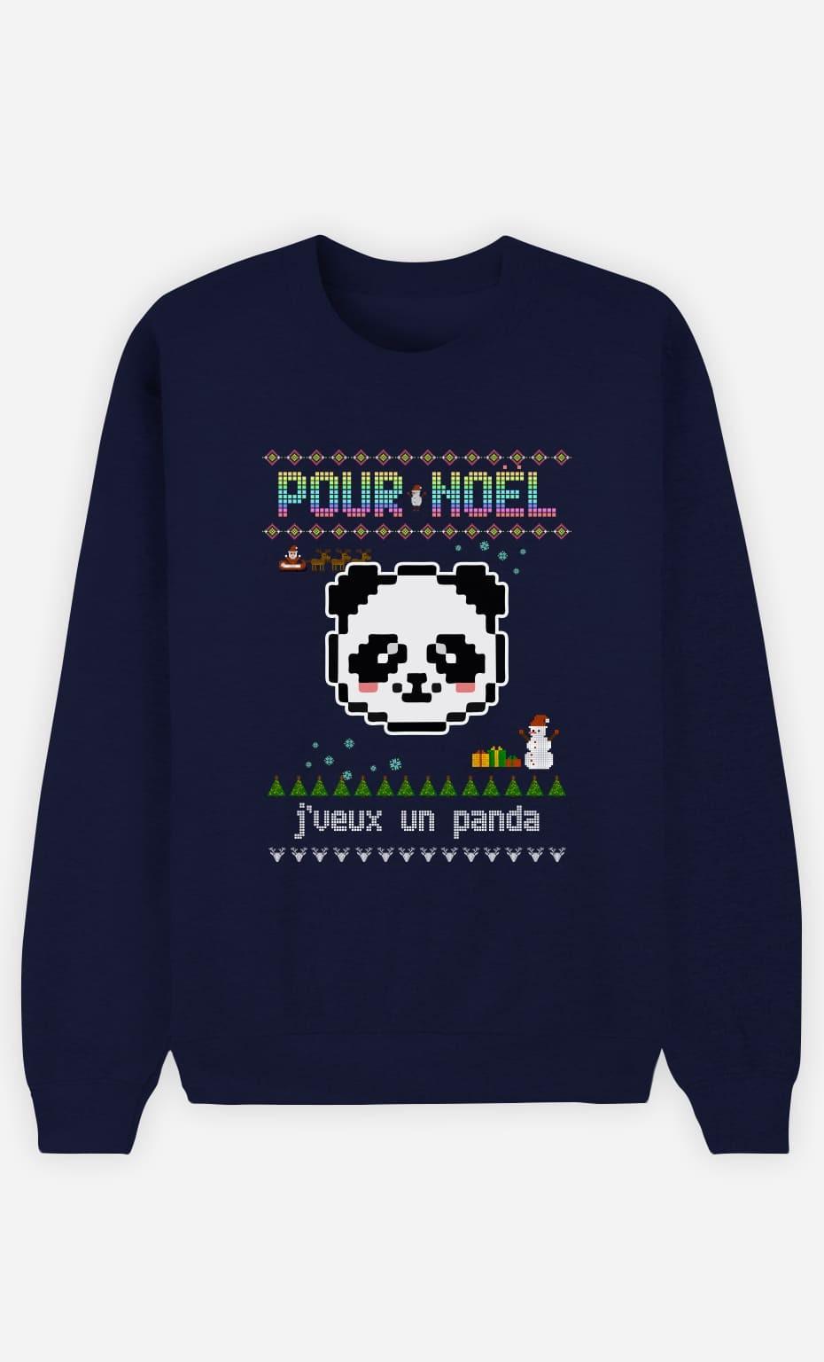 Sweat Femme Pour Noël, j'veux un panda