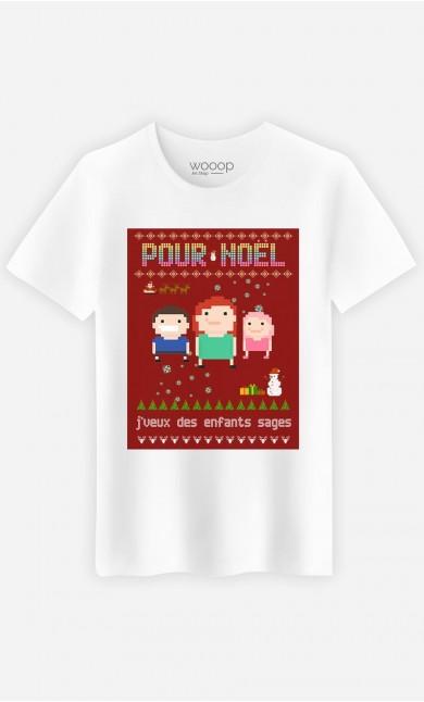T-Shirt Homme Pour Noël, j'veux des enfants sages
